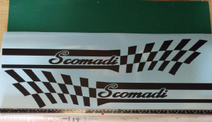 Scomadi TL125 TL50 side panel stripe Flag sticker kit Chequers Checkers type 2